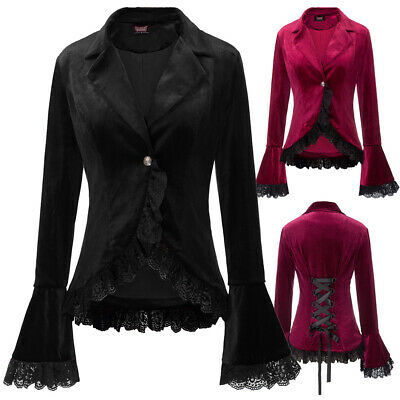Women Ladies Coat Jacket Top Plus Size Gothic Black Corset Steampunk One Button