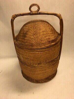 WEDDING BASKET Asian woven wicker 3 piece rattan bamboo Oriental Chinese 21 tall