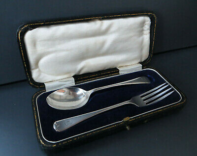 Cased Hallmarked Silver Spoon & Fork - Initial J Or L ? Christening Set / Gift