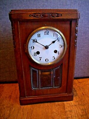 Antique 19th Century Continental Walnut Mantel Clock with Chime (Key & Pendulum)