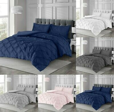 Pintuck Pleated Duvet Cover With Pillowcase Bedding Set Grey White Navy Blush