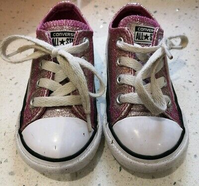 CONVERSE ALL ⭐ STAR GIRLS SPARKLE GLITTER PINK TRAINERS UK 6 (Infant)