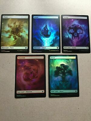 Foil English Theros Beyond Death Full Art Basic Land Set (5 Lands) Magic MTG NEW