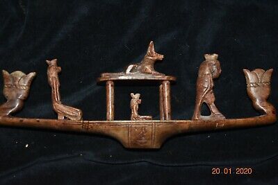 "Sale!! Egyptian Crypt Stone Funeral Boat, Glyphs 10"" Prov"