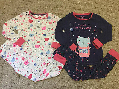 Mothercare Girls 2 X Cat Space Pyjamas Sets Long Sleeve Top Bottoms 4-5 Years
