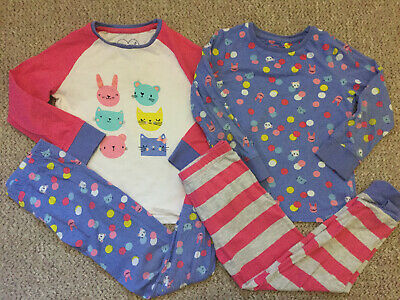 Mothercare Girls 2 X Animal Pyjamas  Sets Pjs Long Sleeve Bottom 4-5 Years