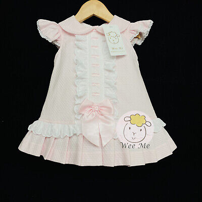Gorgeous Wee Me Baby Girl Spanish Pink Waffle Dungaree Outfit Frilly Collar Top