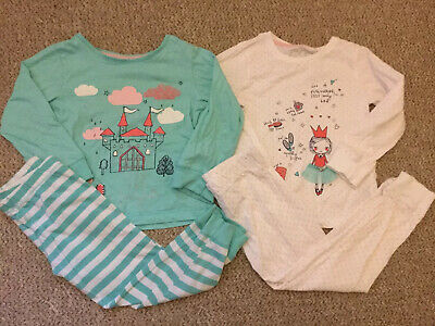 Mothercare Girls Princess Pyjamas Set 2 X Long Sleeve Top Bottoms 4-5 Years