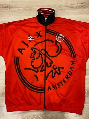 Umbro Ajax Amsterdam 1996/1997 Training Red Track Top Jacket Jersey Size - Xl