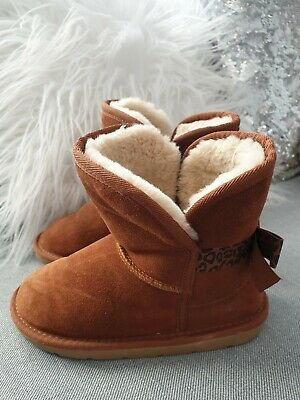 Girls Tu Brown Real Suede Ankle Boots Size 13