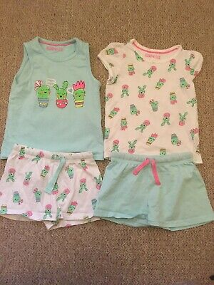 Marks And Spencer M&S Cactus Plant Short Vest T-Shirts Pyjamas Sets 4-5 Years