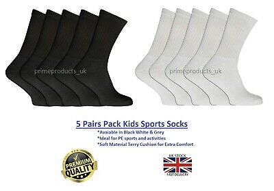 5 Pairs Kids Boys Girls Unisex Sports Black White Grey Socks Trainer PE Activity