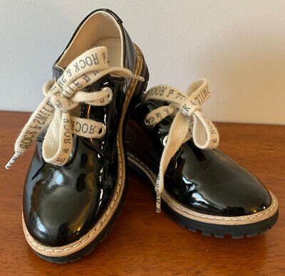 NWOT Zara Kids Girls Derby Shoes With Slogan Laces Black Size EU 26 - 3502/303