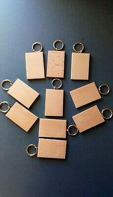 KEYRING BLANKS-with GILT RINGS PYROGRAPHY,PAINTING,etc12 IN PACK £6-90 INCL POST