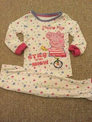 Marks And Spencer M&S Girls Star Peppa Pig Pyjama Set Top Bottoms 3-4 Years
