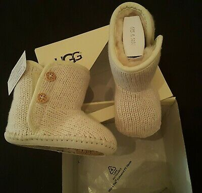 Ugg Boots Brand New In Box Size 12-18 Months Girls Knitted Boots Ivory Rrp £55