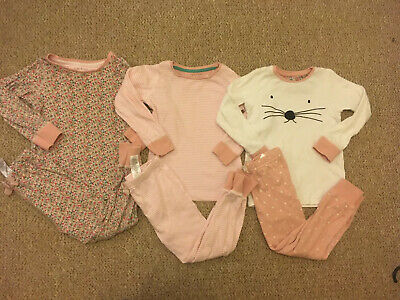 Next Girls 3X Mouse Ditsy Snuggle Pyjamas Pj Set Long Sleeve Top 3-4 Years