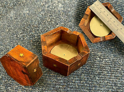 Beautiful Handmade Brass Inlay Wooden Cigarette Ashtray with Free Cigarette Box