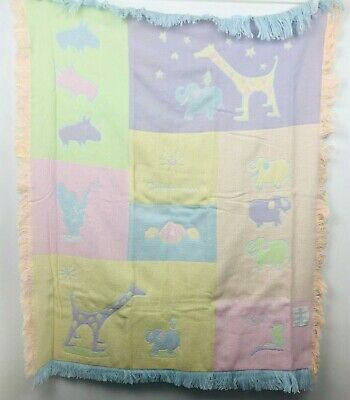 Carters John Lennon Baby Blanket Real Love Animal Parade Acrylic Knit Fringe