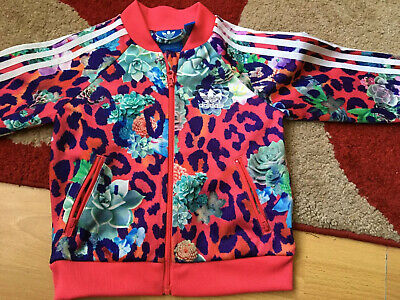 Baby Girls Adidas Tracksuit Jacket Size 9/12mths Pink Floral Great Con