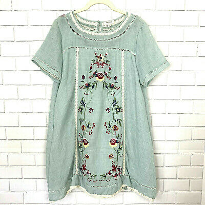 UMGEE Size M Sage Green Boho Floral Embroidered Peasant Dress Tunic Lined