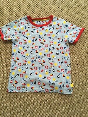 Little Bird By Jools Oliver Mothercare Top T-shirt Blue Beach Rainbow Age 6-7