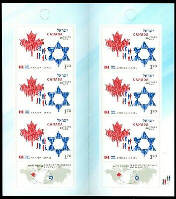 2010 Canada Stamps #2379a BK427 (2 panes of 3) Mint NH Canada Israel Friendship