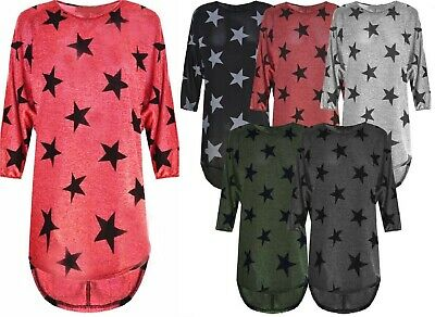 Ladies Star Print Lagenlook Fine Knitted Oversized Curve  Batwing Tunic Top 8-26