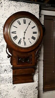Antique American walnut inlaid drop-dial Wall Clock