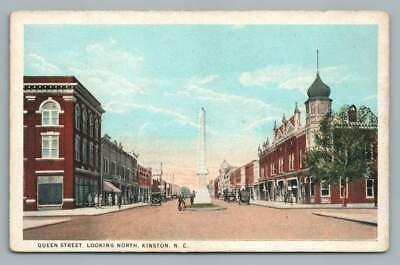 Queen Street KINSTON North Carolina~Confederate Monument Antique Postcard~1920s