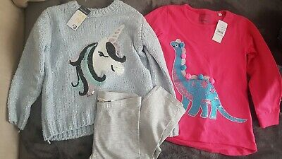 BNWT Girls Outfit Bundle Jumper, Top and Leggings 5-6 years New