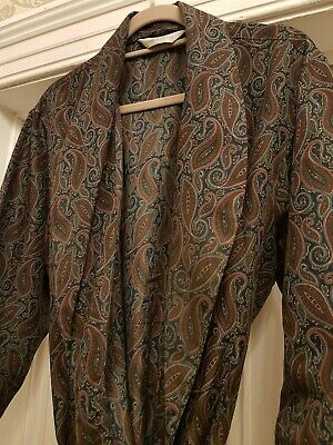 Gent's Vintage St Michael Dressing Gown Paisley Pattern, Size Large
