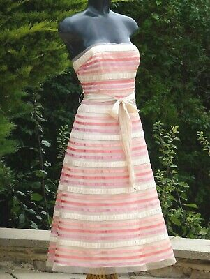 Monsoon Pink/Peach Strapless Dress Size 14  Wedding Party Races PROM