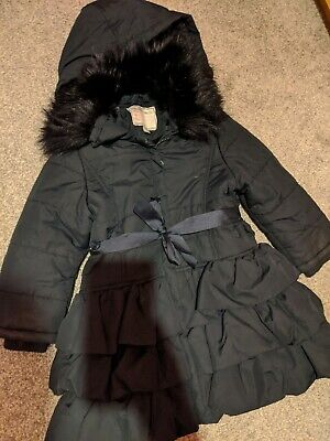 Stunning Girls Monsoon Frill Coat Age 5-6 With ribbon belt only worn 3 times