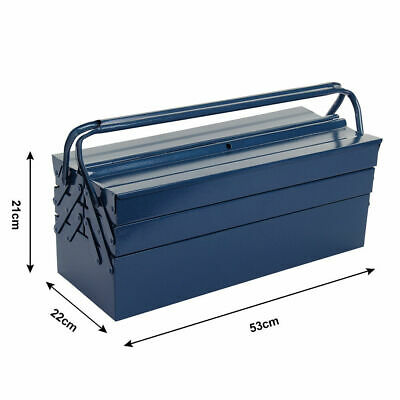 Large Tool Box Storage Heavy-gauge Steel Metal Cantilever 3 Tier 5 Tray Blue