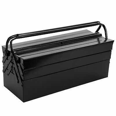 Large Tool Box Storage Heavy Steel Metal Cantilever 3 Tier 5 Tray Black