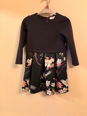 Ted Baker Girls Navy Floral Dress Age 6-7 Years
