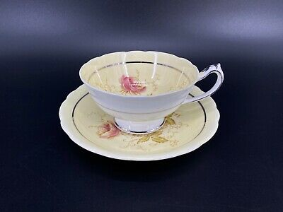 Paragon 7666 Cream Yellow Tea Cup And Saucer Set with Flower Bone China England