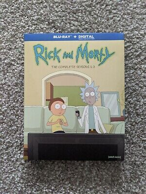 Rick and Morty The Complete Seasons 1-3 Blu Ray Discs w Poster No Digital Code