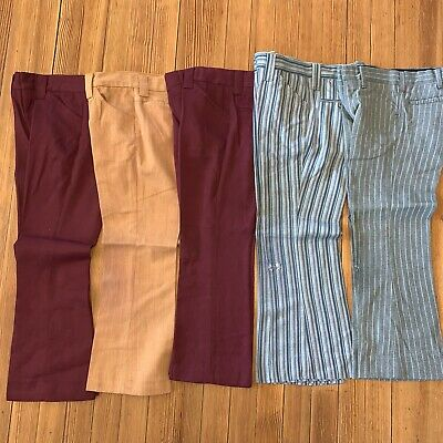 Lot True 1970s Vintage Kid's Bell Bottom Pants Polyester Flare Child REPAIR 9-10