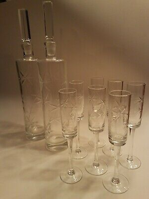9 Pc Vintage Mid Century Modern Atomic Starburst Decanter Stem Glasses Barware