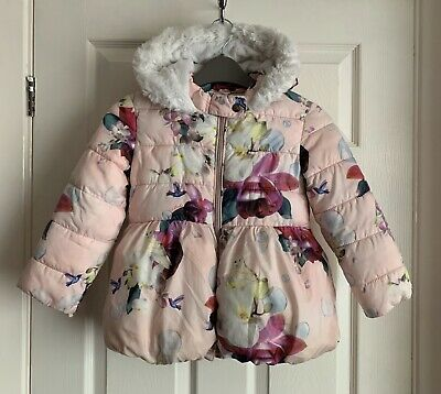 Baker By Ted Baker Girls Pink Floral & Bird Puffa Coat Size 5-6 Years