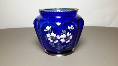 Antique Cobalt Blue Glass Jar Sterling Silver Rim and Base. Hand Painted flowers