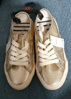 Next girls gold white lace up summer pumps shoes size 1 eur 33.