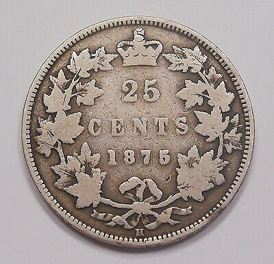 1875H Twenty-Five Cents VG ** Most RARE Date Major KEY Victoria Canada Quarter