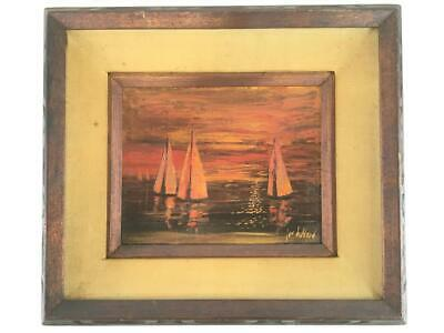 Jon Holland Sailboat Oil on Canvas Signed Painting Frame Water Art Listed Artist