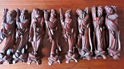 """8"""" Chinese RED Wood Carving Taoism 8 Eight Immortals God Statue Set Collect"""