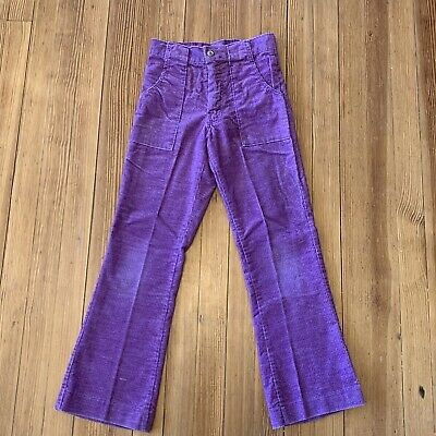 True 1970s Vintage Kid's PURPLE Bell Bottom Pants Corduroy Flare Child sz 11