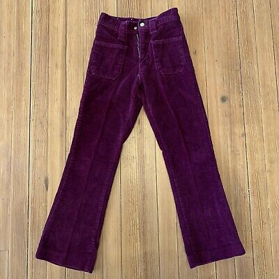 True 1970s Vintage Kid's PURPLE Bell Bottom Pants Corduroy Flare Child sz 12