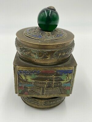 Antique Enameled Brass Chinese Tea Caddy Box Cloisonne Glass Finial Bat